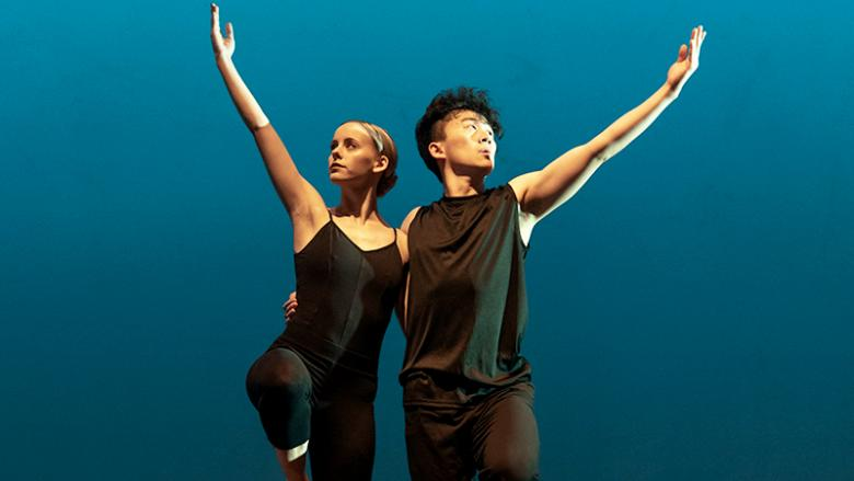 Two Ivyside Dance Ensemble members performing