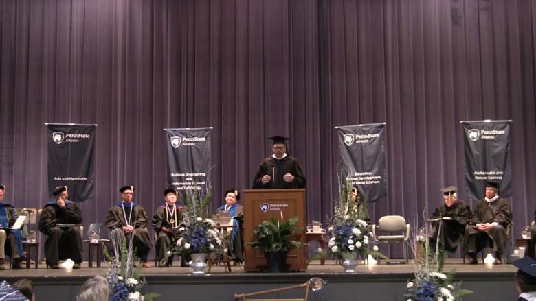 Tom Baker delivers a commencement address