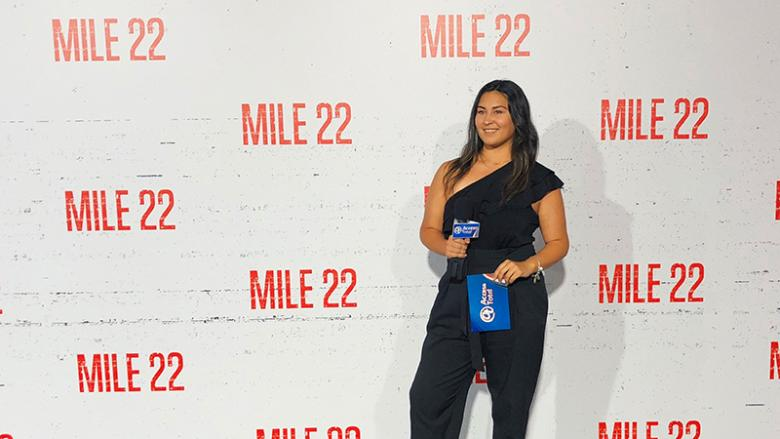 Catherine Rivera Chardon works the room at the Mile 22 premiere for Acceso Total