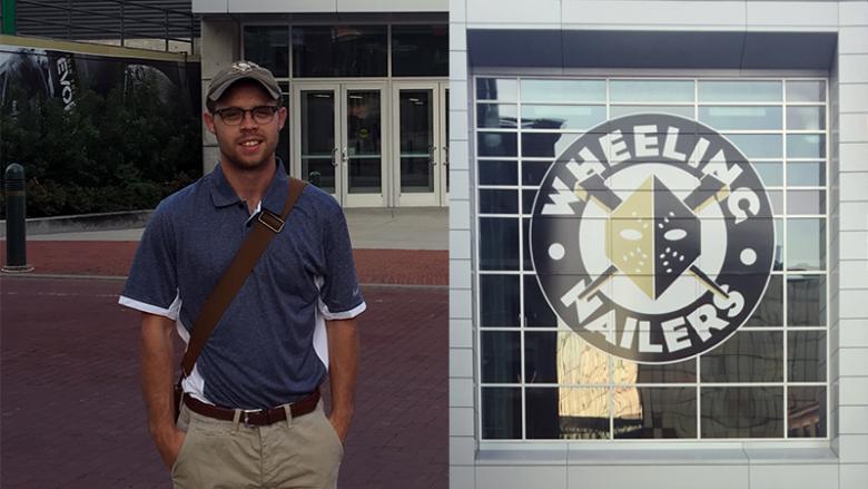 Kirk Kelleher standing outside Wheeling Nailers arena