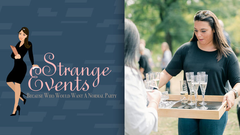 Strange Events logo and photo of Beth Strange