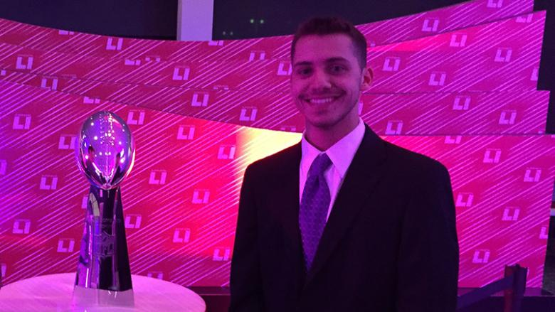 Michael McGuire and the Vince Lombardi Trophy