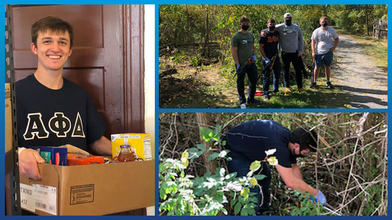A collage of photos of members of the Alpha Phi Delta fraternity performing community service