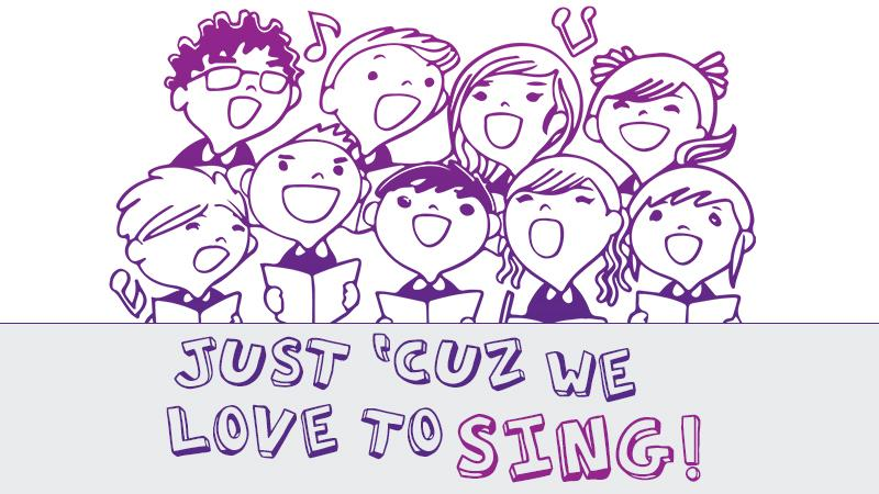 Just Cuz We Like to Sing graphic with cartoon choir