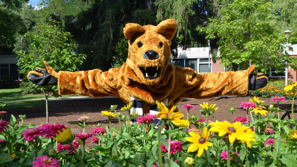 Nittany Lion with flowers