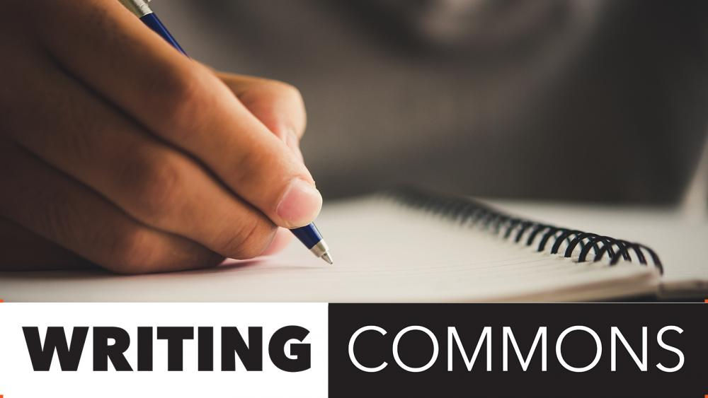 Writing Commons logo with photo of woman writing in a notebook