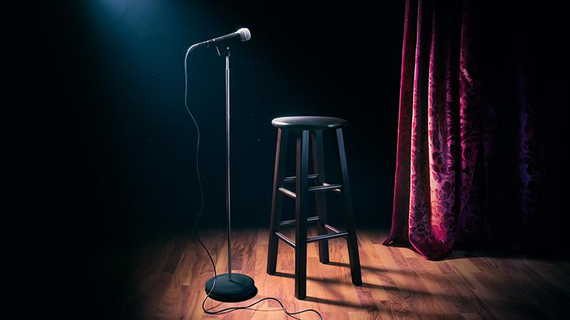 Stand-up Comedy Stool and Microphone
